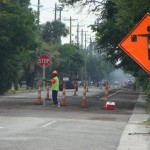 Repaving at the corner of Middle Street and Station 22 1/2 on Sullivan's Island.