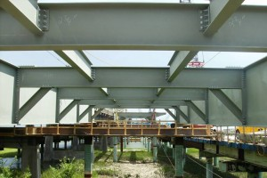 A glimpse of the Ben Sawyer's new girders from underneath.