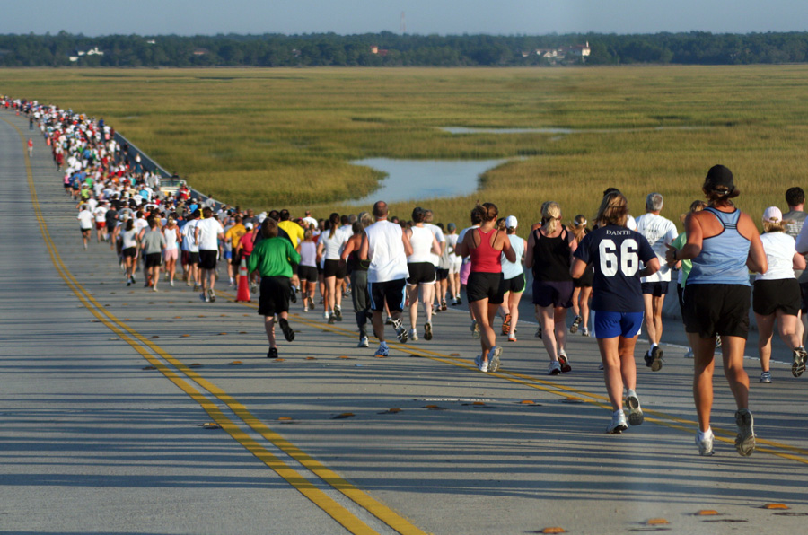 Photo by Sarah Reynolds;  Runners and walkers make their way across the Isle of Palms Connector.
