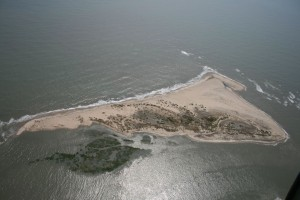Aerial view of Cape Island in Cape Romain National Wildlife Refuge, location of probable remains of Civil War-era steamer Planter.(USFWS)