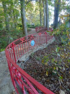 The winding trail to the dining hall with iron work built by students.