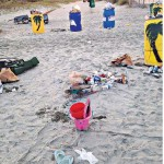 Trash collected by the Turtle Team in Wild Dunes on Isle of Palms, the morning of July 5, 2014.  (Photo by Jo March)
