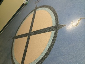This compass symbol will help students orientate themselves. (Photo by Jennifer Tuohy)