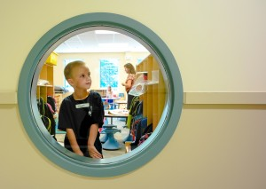 Students check out the new portholes at SIES.