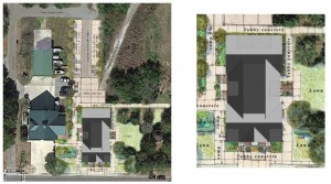 This graphic illustrates where the new building will be situated in relation to the fire station and Stith Park.