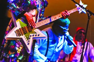 Bootsy Collins on stage at the Lake Eden Arts Festival Two.
