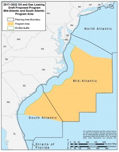 This graphic shows the area proposed for off shore oil and gas exploration.