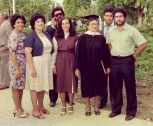 Rovena Jones Hazel with her children Andrea, Rovena, Walter, Anna Maria, Allan Perry and Kevin at her graduation in 1982