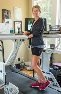 Meredith Nelson working out at her treadmill desk