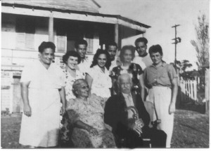 The Jones Family 1948: (Siblings left to right standing) Louise J. Noisette, Rovena J. Hazel, John Jones, Eoline J. Mikell, Alfred Jones, Alma J. Pleasent Vidal, Arthur Jones and Margaret J. Mikell. Missing from the photo are Allen Pezant Jones and Mildred J. Lawrence