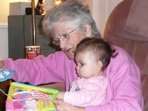 Rovena with her youngest grandchild, Maggie Hazel, in 2007.