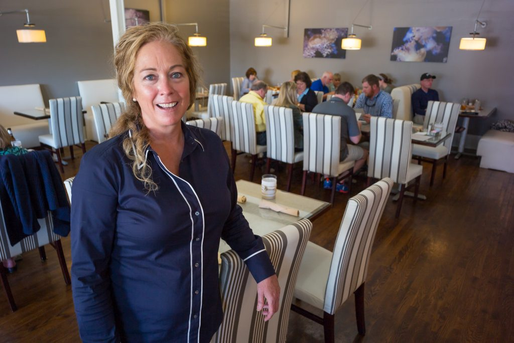 Jocelyn Lamond in the dining room of the Refuge