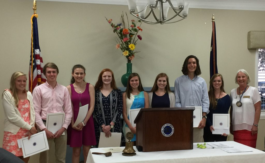From left, Liz Walters, Cole Walter, Caitlin Nevill, Caroline Lamb, Auburn Jeffries, Georgia Hunt, Andrew Capps, Savannah Browder with Elizabeth Grantham of The IOP Exchange Club.