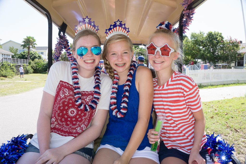 A red-white-and-blue trio on IOP .
