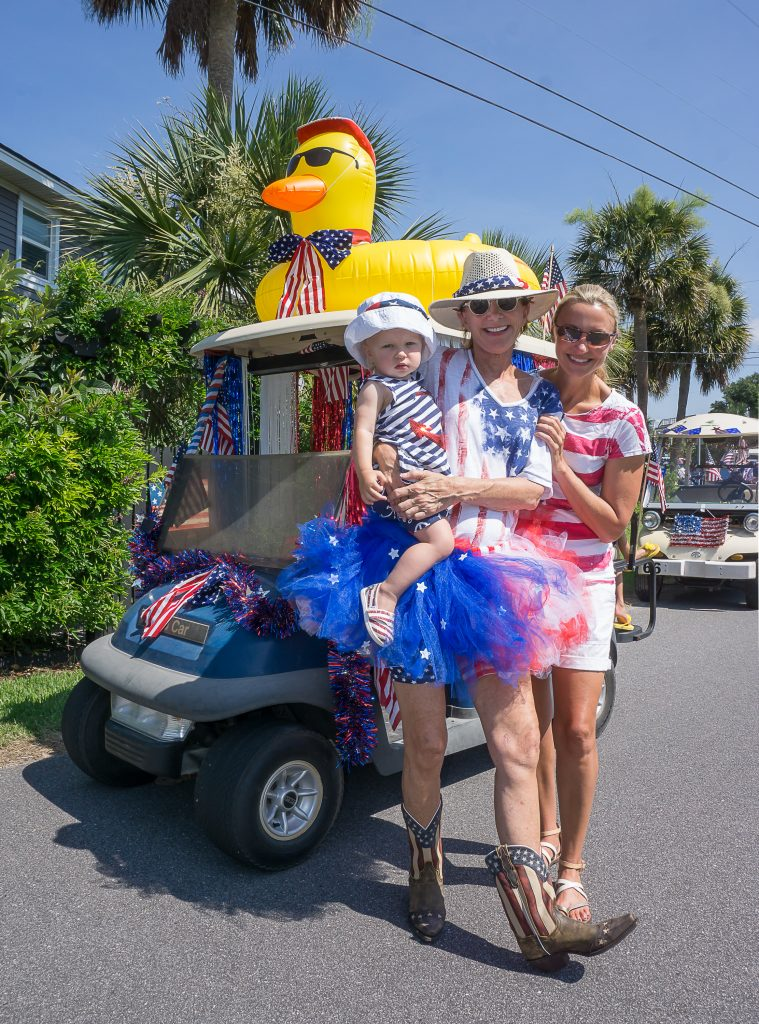 "The Cliftons and Allens with their ""ducky"" cart in the non-competitive Isle of Palms parade."